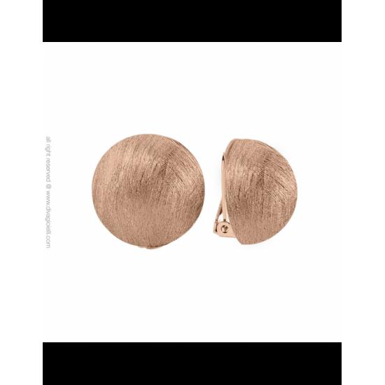 16988RM - Earrings - Luce. clip. ø22. rosé gold scratched - 100003