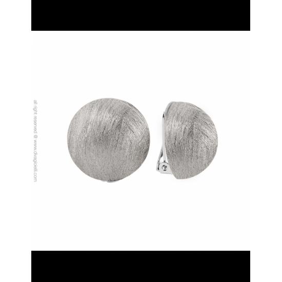 16988ZM - Earrings - Luce. clip. ø22. rhodium scratched - 100005